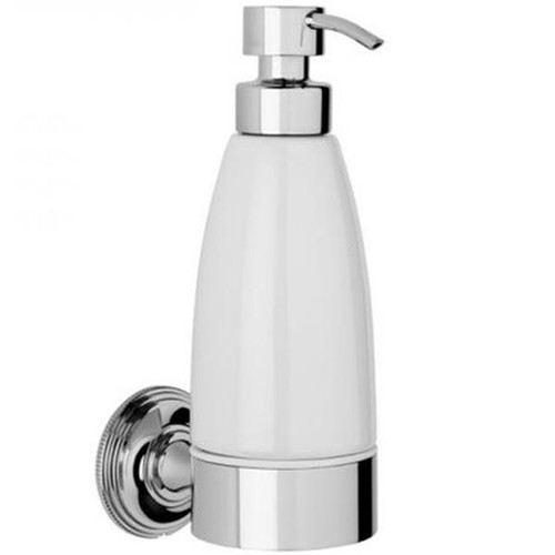 Chrome PLated Samuel Heath Style Moderne Liquid Soap Dispenser White Ceramic N6647W