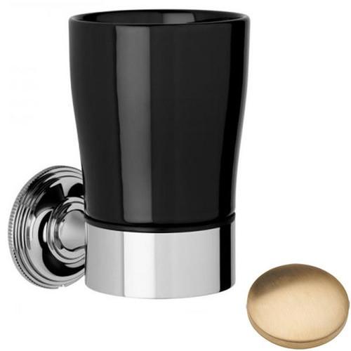 Brushed Gold Unlacquered Samuel Heath Style Moderne Tumbler Holder Black Ceramic N6635B