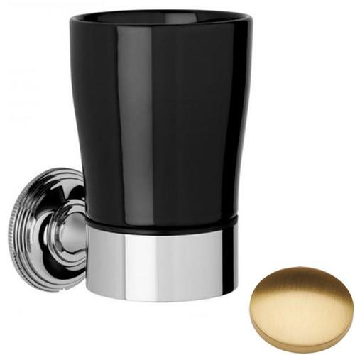 Brushed Gold Gloss Samuel Heath Style Moderne Tumbler Holder Black Ceramic N6635B
