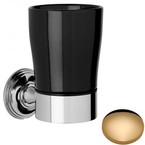 Non-Lacquered Brass Samuel Heath Style Moderne Tumbler Holder Black Ceramic N6635B