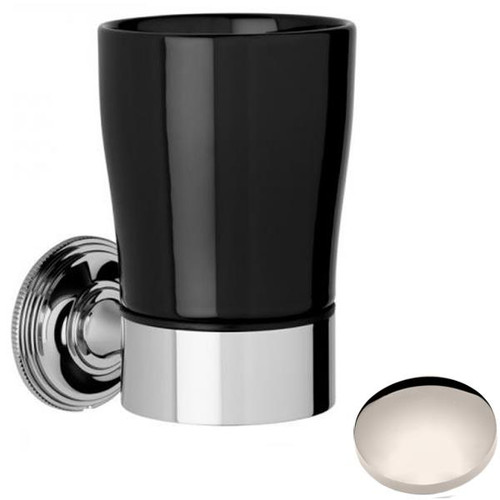 Polished Nickel Samuel Heath Style Moderne Tumbler Holder Black Ceramic N6635B
