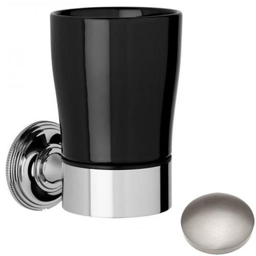 Stainless Steel Finish Samuel Heath Style Moderne Tumbler Holder Black Ceramic N6635B