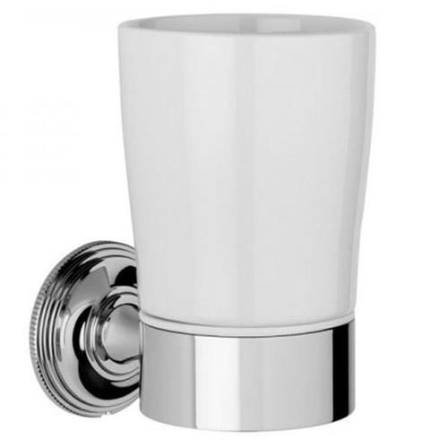 Chrome Plated Samuel Heath Style Moderne Tumbler Holder White Ceramic N6635W