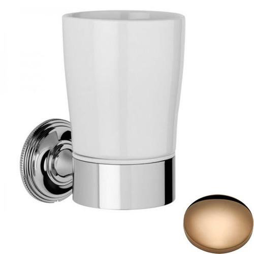 Antique Gold Samuel Heath Style Moderne Tumbler Holder White Ceramic N6635W