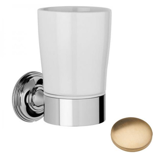 Brushed Gold Unlacquered Samuel Heath Style Moderne Tumbler Holder White Ceramic N6635W