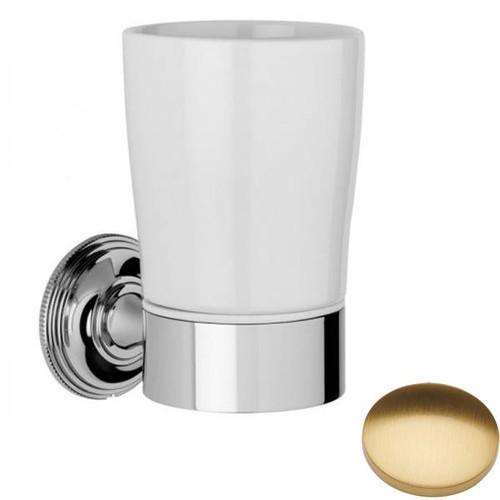Brushed Gold Gloss Samuel Heath Style Moderne Tumbler Holder White Ceramic N6635W