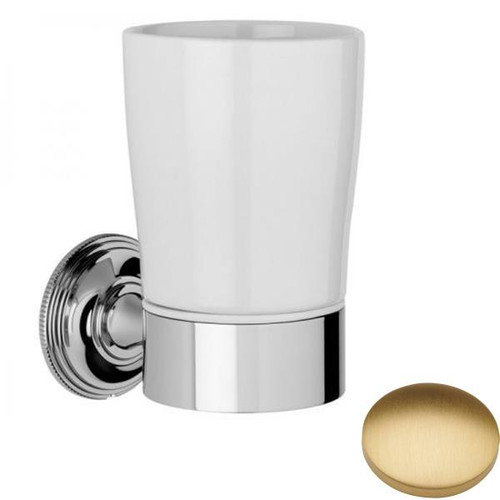Brushed Gold Matt Samuel Heath Style Moderne Tumbler Holder White Ceramic N6635W