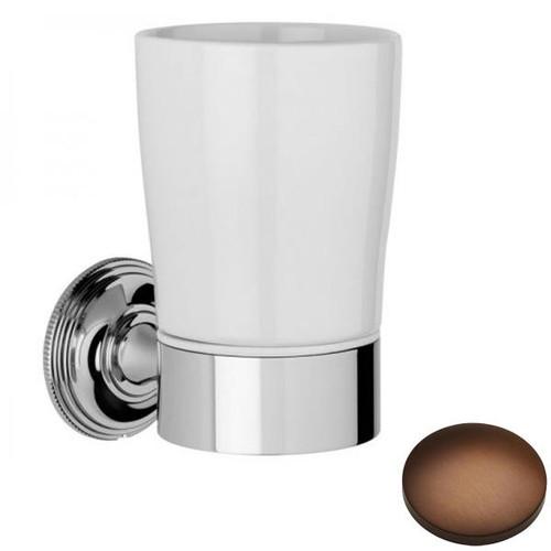 Country Bronze Samuel Heath Style Moderne Tumbler Holder White Ceramic N6635W