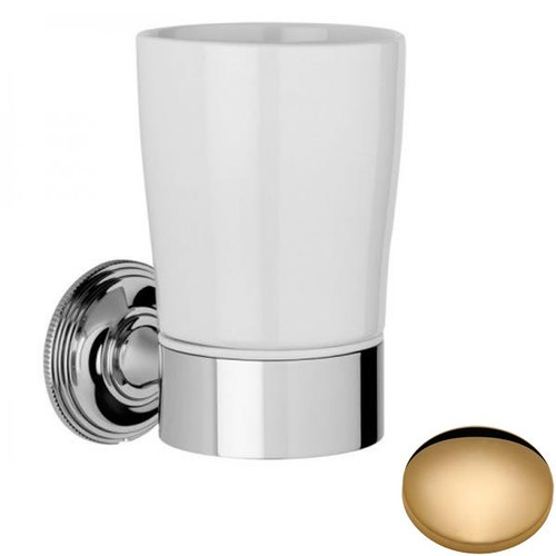 Non-Lacquered Brass Samuel Heath Style Moderne Tumbler Holder White Ceramic N6635W