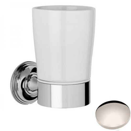 Polished Nickel Samuel Heath Style Moderne Tumbler Holder White Ceramic N6635W