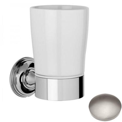 Stainless Steel Finish Samuel Heath Style Moderne Tumbler Holder White Ceramic N6635W