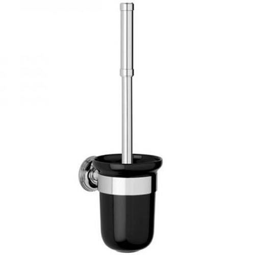 Chrome Plated Samuel Heath Style Moderne Toilet Brush Black Ceramic N6649B