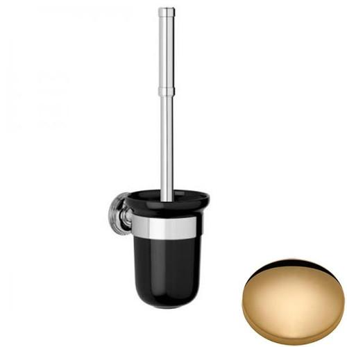 Non-Lacquered Brass Samuel Heath Style Moderne Toilet Brush Black Ceramic N6649B