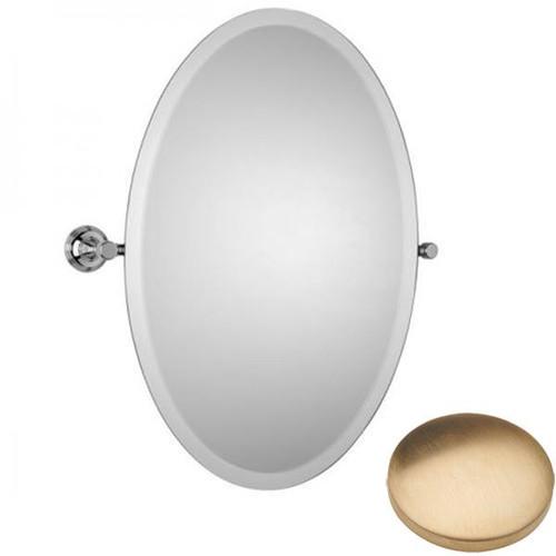 Brushed Gold Unlacquered Samuel Heath Style Moderne Oval Tilting Mirror L6746-XL