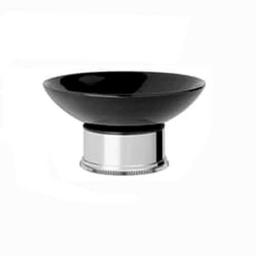 Chrome Plated Samuel Heath Style Moderne Freestanding Black Ceramic Soap Holder N6664B
