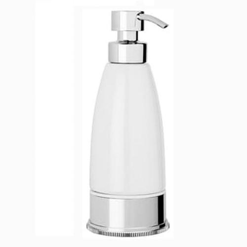 Chrome Plated Samuel Heath Style Moderne Freestanding White Ceramic Liquid Soap Dispenser N6666W
