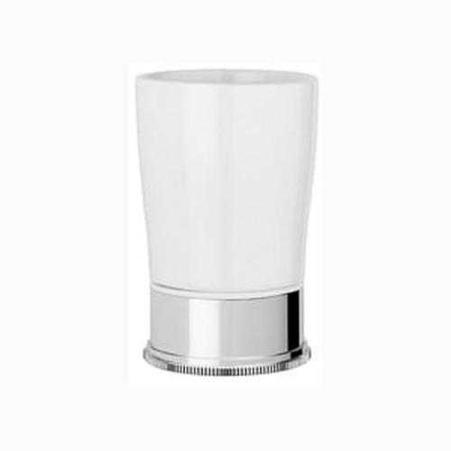 Chrome Plated Samuel Heath Style Moderne Freestanding White Ceramic Tumbler Holder N6665W