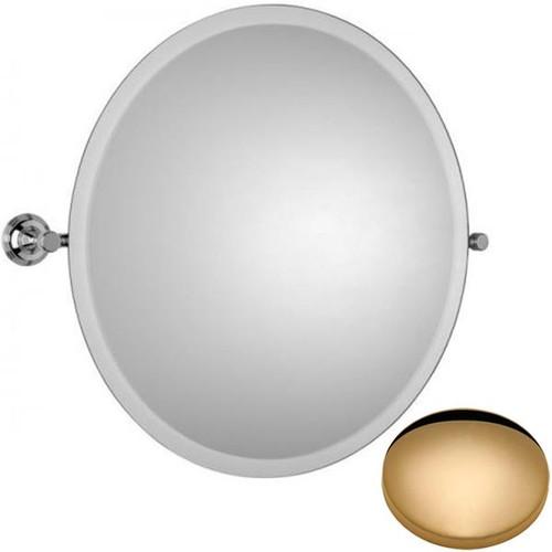 Non-Lacquered Brass Samuel Heath Style Moderne Round Tilting Mirror L6745