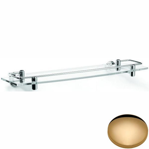 Non-Lacquered Brass Samuel Heath Fairfield Glass Shelf With Lifting Rail N9543