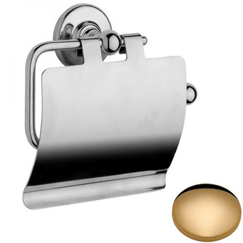Non-Lacquered Brass Samuel Heath Antique Toilet Roll Holder With Cover N4337-C