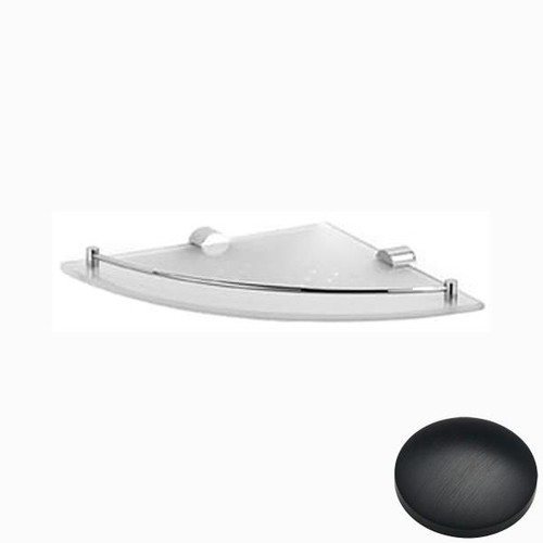 Matt Black Chrome Samuel Heath Xenon Glass Corner Shelf N5036