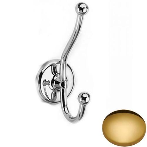 Polished Brass Samuel Heath Novis Double Robe Hook N1039