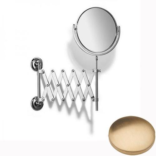 Brushed Gold Unlacquered Samuel Heath Novis Extending Mirror Plain / Magnifying L1108