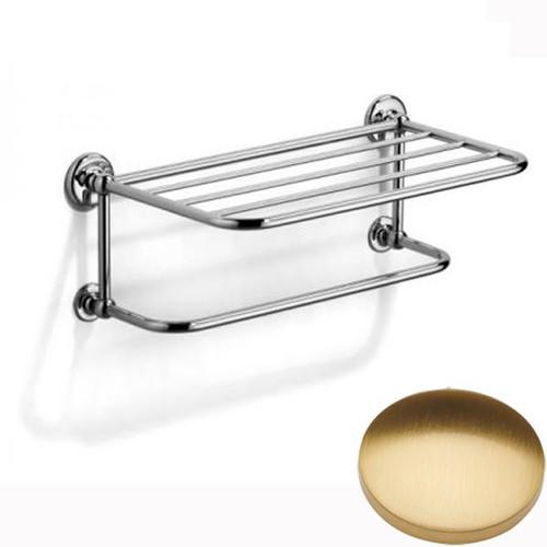Brushed Gold Gloss Samuel Heath Novis Towel Shelf With Towel Hanging Rail N1737