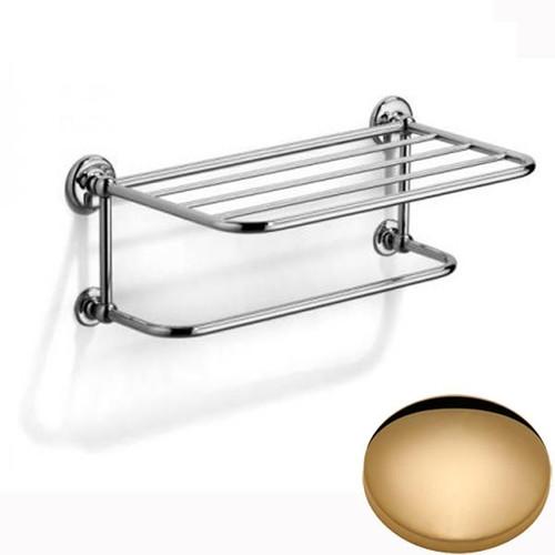 Non-Lacquered Brass Samuel Heath Novis Towel Shelf With Towel Hanging Rail N1737