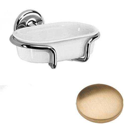Brushed Gold Unlacquered Samuel Heath Novis Soap Holder N1034