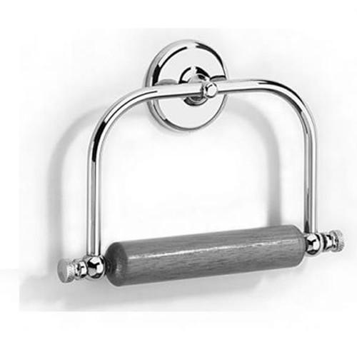 Chrome Plated Samuel Heath Novis Toilet Roll Holder With Wooden Roller N1020