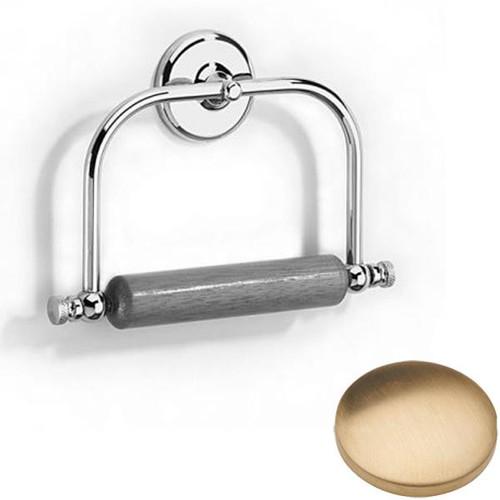Brushed Gold Unlacquered Samuel Heath Novis Toilet Roll Holder With Wooden Roller N1020