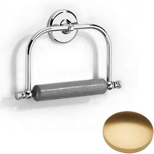 Brushed Gold Gloss Samuel Heath Novis Toilet Roll Holder With Wooden Roller N1020