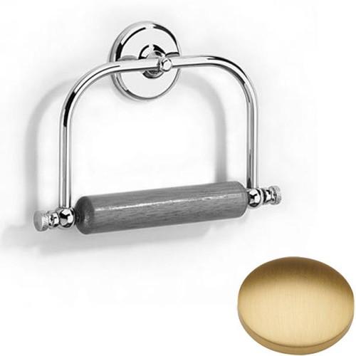 Brushed Gold Matt Samuel Heath Novis Toilet Roll Holder With Wooden Roller N1020