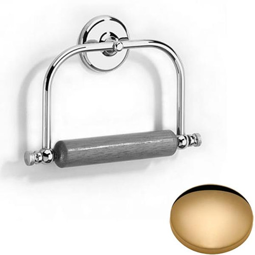 Non-Lacquered Brass Samuel Heath Novis Toilet Roll Holder With Wooden Roller N1020
