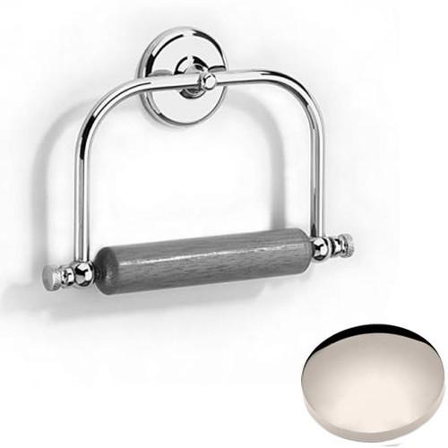 Polished Nickel Samuel Heath Novis Toilet Roll Holder With Wooden Roller N1020