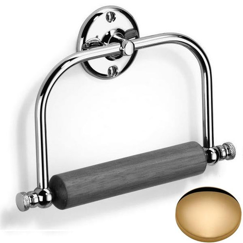 Non-Lacquered Brass Samuel Heath Curzon Toilet Roll Holder With Wooden Roller N20