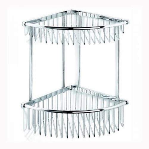 Chrome Plated Samuel Heath Double Corner Shower Basket N24
