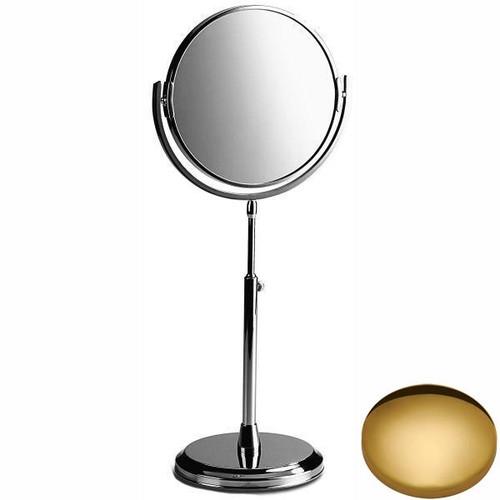 Polished Brass Samuel Heath Freestanding Height Adjustable Plain / X5 Magnifying Mirror L107