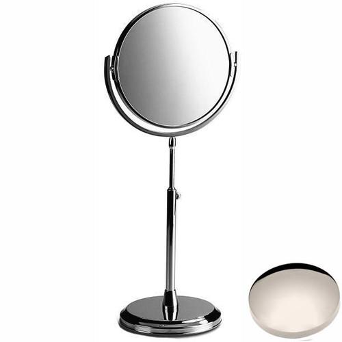 Polished Nickel Samuel Heath Freestanding Height Adjustable Plain / X5 Magnifying Mirror L107