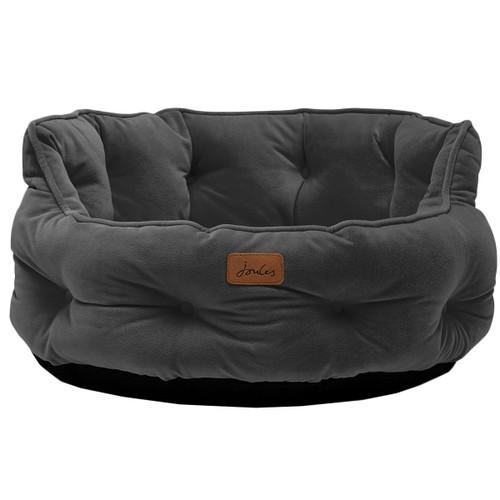 Grey Joules Velvet Chesterfield Pet Bed