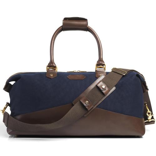 Navy/Choc Canvas/Leather Fairfax & Favor Mens Oxburgh Travel Bag