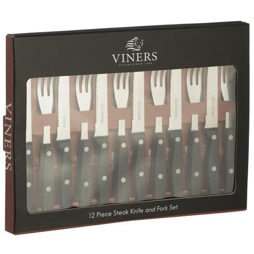 Viners 12 Piece Steak Knife & Fork Set