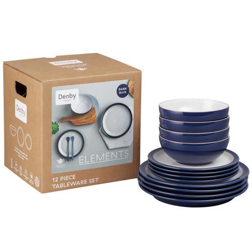 Denby Elements Dark Blue 12 Piece Tableware Set