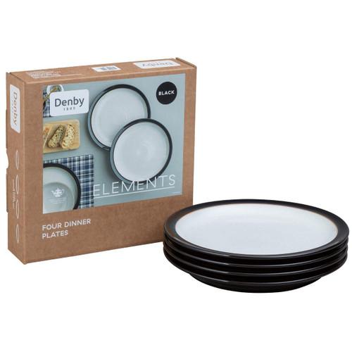 Denby Elements Black 4 Piece Dinner Plate Set