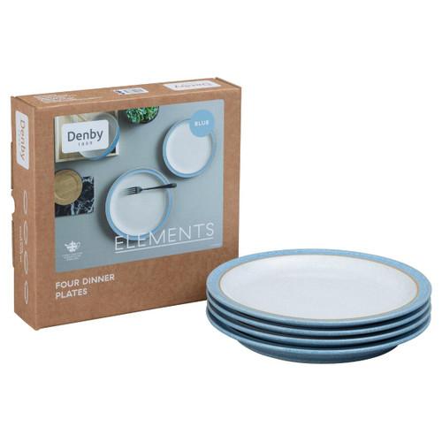 Denby Elements Light Blue 4 Piece Dinner Plate Set