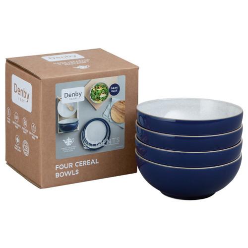Denby Elements Dark Blue Set Of 4 Cereal Bowls