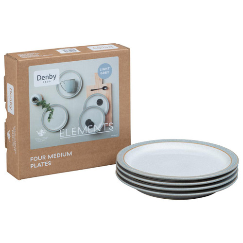 Denby Elements Light Grey Set Of 4 Medium Plates