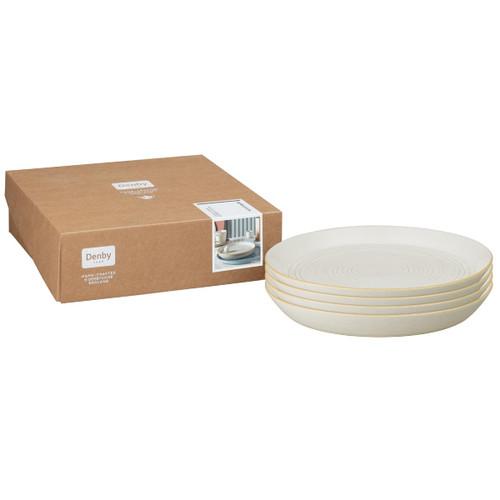 Denby Impression Cream Set Of 4 Spiral Dinner Plates