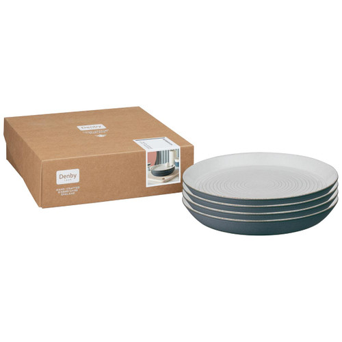 Denby Impression Charcoal Set Of 4 Spiral Dinner Plates